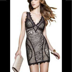 Bebe Kim Kardashian inspired lace overlay dress